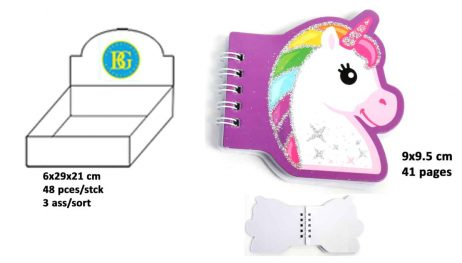 CARNET LICORNE 41 PAGES (Taille 9 x 9.5 cm)