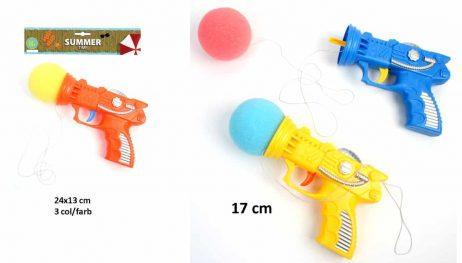 PISTOLET BALLE EN MOUSSE (Pistolet lance balle 17 cm) Assortiment 3 coloris