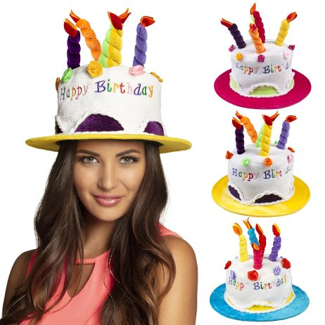 "CHAPEAU HAPPY BIRTHDAY ""Gateau d'anniversaire"" Velours - 3 coloris assortis"