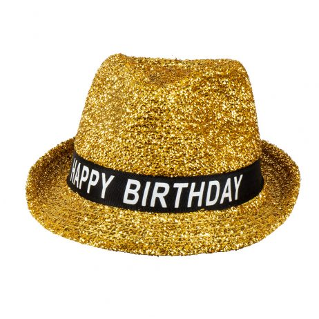 CHAPEAU HAPPY BIRTHDAY (Borsalino paillettes dorées)
