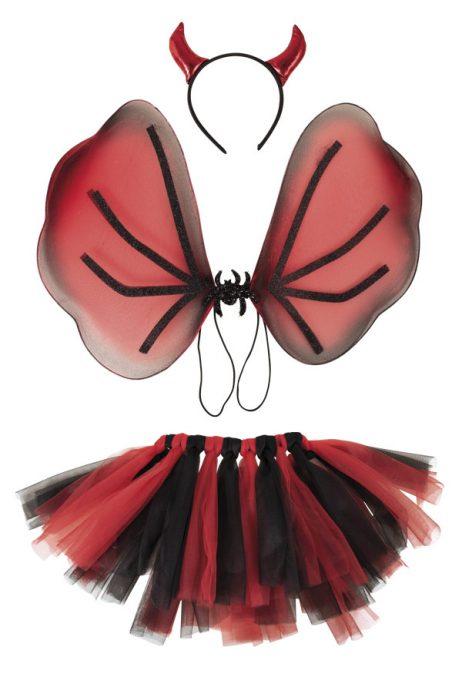 SET HALLOWEEN 3 PIÈCES (avec ailes, tutu, cornes) Taille adulte
