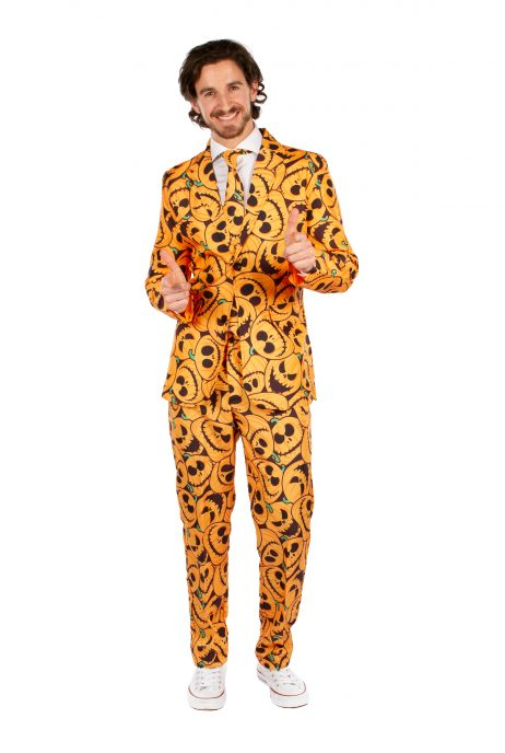 COSTUME CITROUILLE (Pantalon, veste, cravate) Tailles adultes