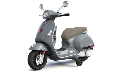 VESPA ELECTRIQUE ENFANT (Scooter gris 102x50x75 cm) Phares, klaxon, autoradio