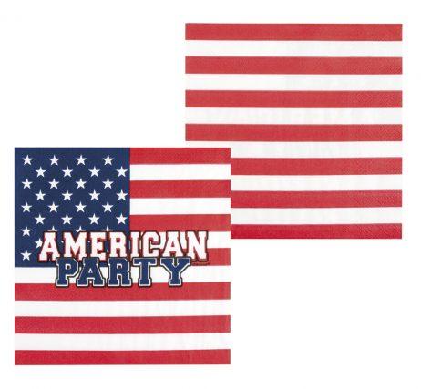 SET DE 12 SERVIETTES USA (Dimension 33 x 33 cm)