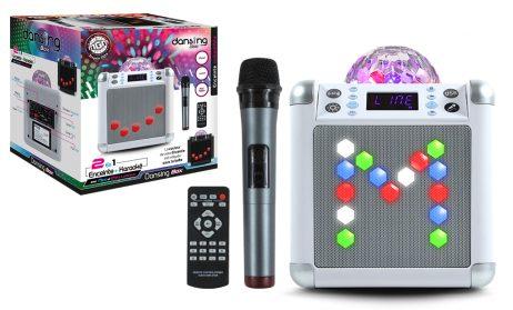CUBE KARAOKÉ LUMINEUX (Bluetooth + micro sans fil) Télécommande - 2 coloris