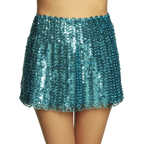 MINI JUPE DISCO TURQUOISE (Taille M - Sequins et stretch)