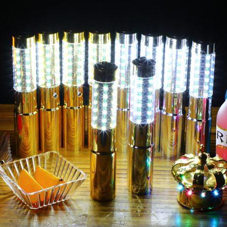 BÂTON LED POUR BOUTEILLE (Bâton doré stroboscopique) Longueur 23 cm - 2 fonctions