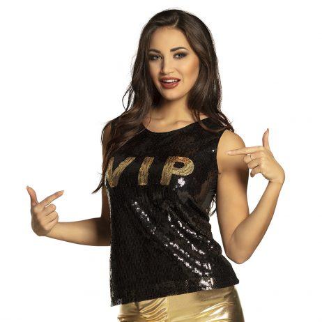 TOP POUR FEMME VIP GOLD (Taille M - T-shirt noir et or)