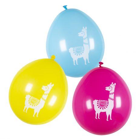 SET DE BALLONS LAMA (Sachet 6 ballons - 3 coloris) Taille 25 cm