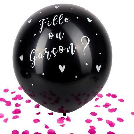 BALLON A CONFETTIS ROSES (Ballon noir géant 60 cm) Fille ou Garçon ?