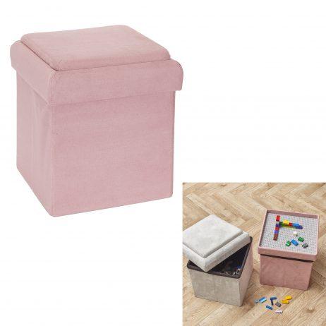 COFFRE POUF PLIABLE ROSE (Briques de construction) Compatible 27 x 27 x 30 cm