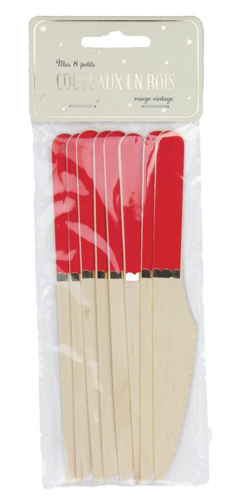 COUTEAUX ROUGE ET OR (Pack 8 couteaux en bois)