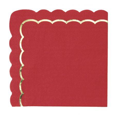 SERVIETTES ROUGE ET OR (Pack 16 serviettes - 33 x 33 cm)
