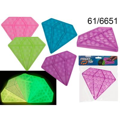 FIDGET POP TOY ANTI STRESS (Diamant fluo dans le noir) Sensoriel -Push pop bubble