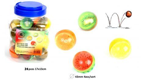 BALLES REBONDISSANTES (en forme de fruits 43 mm)