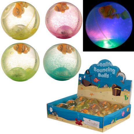 BALLES REBONDISSANTES (Thème des poissons 6.5 cm) Pack 12 balles lumineuses